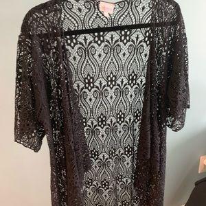 LULAROE Madison size Small black lace w/ fringe